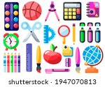 cute school icons vector flat... | Shutterstock .eps vector #1947070813
