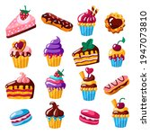 cake  cupcake and eclair flat... | Shutterstock .eps vector #1947073810
