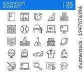 outline icon set of education...   Shutterstock .eps vector #1947076396