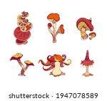 beautiful fantasy mushrooms set.... | Shutterstock .eps vector #1947078589