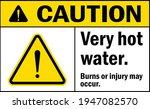 caution very hot water. burns...   Shutterstock .eps vector #1947082570