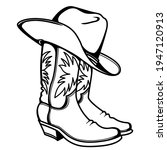 cowboy boots and western hat....   Shutterstock .eps vector #1947120913