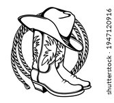 cowboy boots and western hat...   Shutterstock .eps vector #1947120916