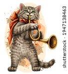 cat. wall sticker. color ... | Shutterstock .eps vector #1947138463