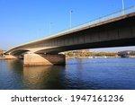 Deutz Bridge (Deutzer Brucke) in Cologne, Germany. Bridge over river Rhine.