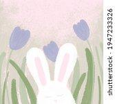 Easter Bunny Flower Grass Card