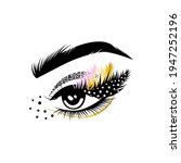 female eye with long lashes and ...   Shutterstock .eps vector #1947252196