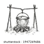 pot on campfire sketch. cooking ... | Shutterstock .eps vector #1947269686