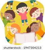 illustration of kids lying down ... | Shutterstock .eps vector #1947304213