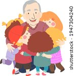 illustration of kids hugging... | Shutterstock .eps vector #1947304240