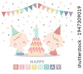 two babies celebrating their... | Shutterstock .eps vector #1947309019