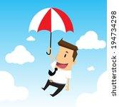 businessman flying in the sky | Shutterstock .eps vector #194734298