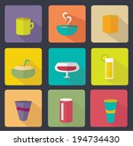 set of various drinks flat icon
