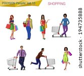 polygonal style people shopping ... | Shutterstock .eps vector #194735888