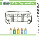 bus color by numbers. coloring... | Shutterstock .eps vector #1947425263