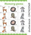 forest animals memory game.... | Shutterstock .eps vector #1947425569