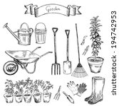 Garden. Hand Drawing Set Of...
