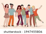 group of young friends hugging... | Shutterstock .eps vector #1947455806
