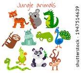 set of cartoon cute jungle... | Shutterstock .eps vector #1947514639