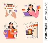 online shopping banner set ... | Shutterstock .eps vector #1947516670