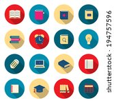 learning education color icons...