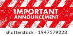 important announcement sign on... | Shutterstock .eps vector #1947579223