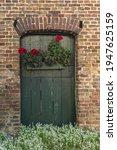 Old Green Wooden Barn Door With ...