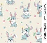 cartoon cute rabbit seamless... | Shutterstock .eps vector #1947631399