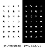 notes glyph icons set for night ...