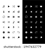 music glyph icons set for night ...