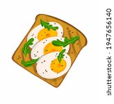 drawing toast with eggs and... | Shutterstock . vector #1947656140