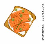 drawing toast with salmon and... | Shutterstock . vector #1947656146