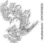 hand drawn and line thai bird... | Shutterstock .eps vector #1947693823