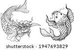 koi fish black and white... | Shutterstock .eps vector #1947693829