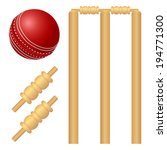 cricket ball and stump... | Shutterstock .eps vector #194771300