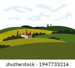 vineyard wine grapes hills farm ... | Shutterstock .eps vector #1947733216