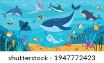 underwater world with floating... | Shutterstock .eps vector #1947772423
