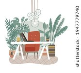 modern eco gree workplace....   Shutterstock .eps vector #1947779740