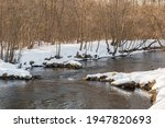 A River Bed With Snow On The...