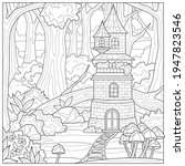castle in the woods.coloring... | Shutterstock .eps vector #1947823546