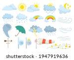 weather icon set  meteorology... | Shutterstock .eps vector #1947919636