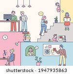 students who study in a fun...   Shutterstock .eps vector #1947935863