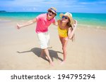 portrait of happy young couple... | Shutterstock . vector #194795294