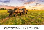 Old Vintage Carriage With Hay...
