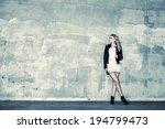 beautiful urban girl leans... | Shutterstock . vector #194799473