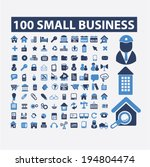 100 small business, management, marketing, retail icons, signs set, vector