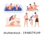 set of healthy people during... | Shutterstock .eps vector #1948079149
