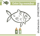 fish color by numbers. coloring ... | Shutterstock .eps vector #1948158793