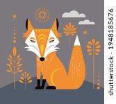 fox illustration. geometric... | Shutterstock .eps vector #1948185676