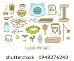 set of cute cat items isolated... | Shutterstock .eps vector #1948276243